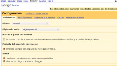 configuración reader