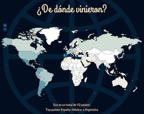 Visitas en 2012 por países